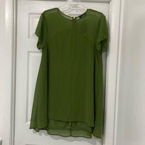 """AX"" khaki green high low swing dress. Size 16"